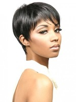 High Quality Women's Cool Boy Cut Synthetic Wigs Short Straight Wigs for african black women Free Shipping