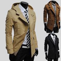 Men's Fashion Slim double-breasted hooded Jackets Autumn Winter Man Casua Long-sleeved Slim Trench Overcoat New Korean Coats