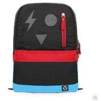"Block color geometric pattern Nylon fabric women Backpacks men's travel bag school bag mochila feminina 15"" laptop"