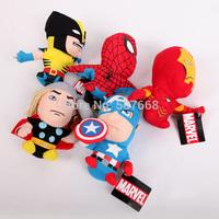 "2sets/lot 5pcs/set marvel The Avengers plush America iron man Wolverine Thor Spiderman soft doll figure 12.6"""
