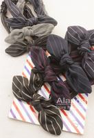 FreeShipping 12pcs/lot British Style Striped Cotton Large Rabbit Ear Bow Elastic Headband Bunny Hairband D81049 (5 colors)