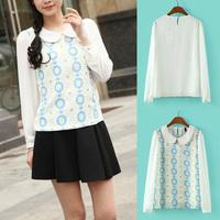 New Arrival Fashion Women Stitching Flower Print Pattern Blouse Long Sleeve Chiffon Print Shirt White 8401