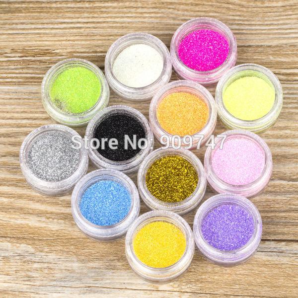 New 12 Color Metal Shiny Glitter Nail Art Tool Kit Acrylic UV Powder Dust gem Nail Tools Decoration(China (Mainland))