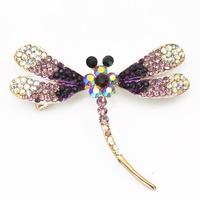 Adorable Purple Amethyst Crystal Rhinestone Dragonfly Brooch