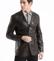 suits  men blazers  pu leather  business suit   new   regular perfect coat   men clothes high quality free shipping