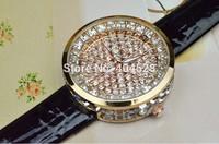 Fashion Luxury Genuine Leather Round Women Wristwatch Full Crystal Diamond Bling Analog Dress Quartz Wrist Watches Freeshipping