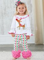 5set Children girl's 2014 Autumn Long sleeve deer t-shirt+ Dot layered pant Christmas pink 2-piece/set tz527