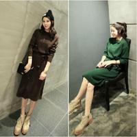 L374B green knee length sweater dress for woman 2014 long sleeve winter knit dress women's vintage side slit dress