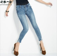 2014 Fashion Women mid Waist Skinny Jeans Women button  High Elastic Slim Pencil Pants Size 27-31