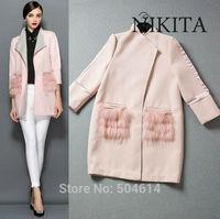 Plus Size Autumn Brand Fashion 3/4 Sleeve Fox Hair Pocket Women Splicing Trench Desigual Coat, Warm Slim Wind Breaker No Button