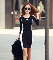 New Ladies Winter Fashion Dress Knee Length Cotton Casual Patchwork Black White Dress Slim Pencil Dress Vestidos Plus Size 5XL