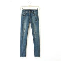 Sparkle Jeans Women New 2014 Blue Denim Pants Stretch Women's Elastic Pencil Pants Light Wash Skinny Jeans 3071