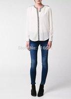 2014 new fashion women vintage elegant geometry embroidery long sleeve blouse Lady casual brand design cotton shirt #J392