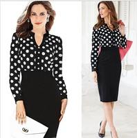 2014 Winter Garment  New Women Casual Dress OL Slim Long Sleeve Elegant Party Vintage Polka Dot Print Dresses Work Wear Vestidos