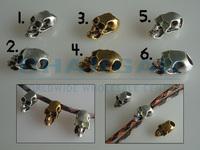 (10pcs, 3 Styles) Charm Metal Skull Bead For 550 Paracord Knife Lanyards DIY Parts Vertical / Horizontal Hole Glow-in-Dark Eyes