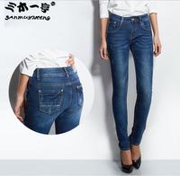 New Arrival 2014 Brand Waist Mid  Women Straight Jeans Slim Pencil Skinny Denim Fashion Casual Pants
