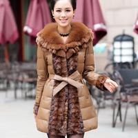 2014 winter new genuine leather jacket women down coat long mink fur coat fox fur collar overcoat fashion