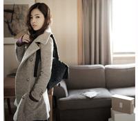 2014 New Fashion Spring/Fall Women Brand Clothing Hot Sale  Wide Lapel Belt Oblique Zipper Wool-blend Trench Woolen Coat