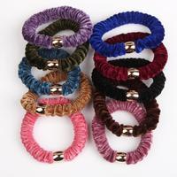 5PCS Pretty Velvet Elastic Hair Ties Ropes Color Random Rubber Bands 10 Color Fashion Hair Accessories Headwear-0060\br
