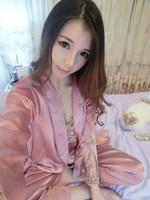 Silk Robes Three-piece Suit Tracksuit Bathrobe Ladies Pyjama Sets Women's Kimono Lingerie Hot Rayon Nightgown Sleepwear