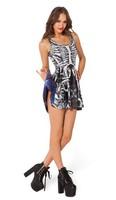 VOLFOUR 2014 New Woman Fashion Dress Sexy Party Dress BONE MACHINE VS GALAXY BLUE INSIDE OUT DRESS SHIPPING