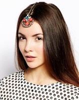 Wholesale 3pcs brand orange blue rhinestone flower indian forehead jewelry gold chain hairpins colorful hair jewelry
