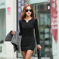 M-XXXL Elegant Temperament Autumn Women Sexy V-Neck Long Sleeve Slim Thin Package Hip Solid None 3 Color Dresses 309