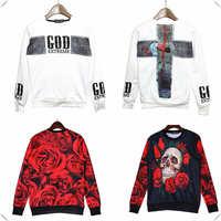 God Skull flower rose 3D Hoodies Unisex Sweaters Pullover Sweatshirts Long Sleeve 3D T Shirts fleece high qualtiy free shipping