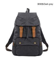 man outdoor men's vintage canvas backpack rucksack boy satchel Travel Military hiking camping bag school drawstring bookbags