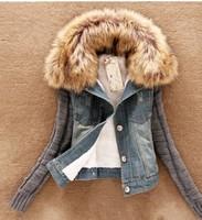New 2014 Winter Coat Women Large Faux Fur Collar Denim Fleece Coat Casual Slim Outerwear Overcoat YS8708