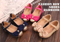 Top End 2014 new children princess shoes,babi girls leather shoes,kids bow party shoes,gold bling decoration single shoes girl