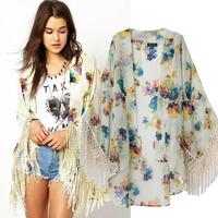 2014 Hot Hitz European and American style retro fashion fringed cape cardigan printed kimono swing coat jacket women skj-444
