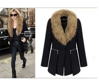 New 2014 Winter Coat Women Large Faux Fur Collar Euro Outerwear Overcoat Plus Size casacos femininos YS8709