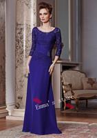 Fashion Dress Formal Custom Made 2015 New A-Line Circle Chiffon Royal Bue Lace Floor Length Draped Mother Of Bride Dresses