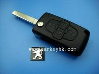 Peugeot key with best quality Peugeot 4 button flip key shell no battery place CE0523 and peugeot 1007