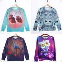 4 Styles Owl Theme Fall Winter 3D Hoodies Unisex Crewnecks Pullover Sweatshirts Long Sleeve 3D T Shirts