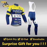 2014 FANTINI winter Fleece Thermal Long Sleeve and Bib Pant Cycling Jersey/Wear/Clothing/Bicycle/Bike/Riding jersey/Gel