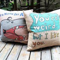 Cute Adorable Cartoon Animal Hippo & You're Weird Novelty Cotton Linen Throw Cushion Cover Kid's Room Decor Sofa Pillow Case