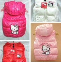 Hot Sale!!!Free shipping girls hooded cotton vest new foreign trade KT vest children hello kitty cotton vest girl's clothes