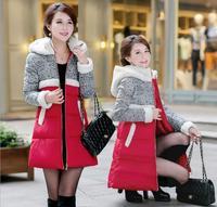 Winter Jacket Women Lamb's Wool Hooded Jackets Long Duck Down Jacket for Women Winter Down Coat Casual Parka Patchwork Outerwear