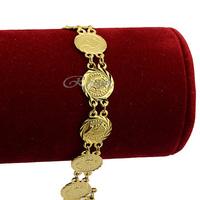 1pcs Woman Men Girls 18K Yellow Gold Filled Bell Charm Gold Chain Bracelets Bangle Toggle  Jewelry E237