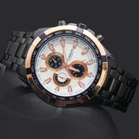 New Arrival White Face Golden Pointer Man Men's Boy's Xmas Gift Dress Curren Analog Quartz Wrist Hand Watches, 8023