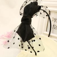Wholesale 12pcs Large Doudles Layers Satin Bows Hairband Fashion Dots Mesh Bow Headband Women's Hair Accesosries