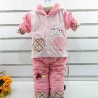 Baby Suit Set 2014 Autumn 2pcs Tracksuits Girl Clothing Velvet Sport Jackets/Coats/Tops +Pants