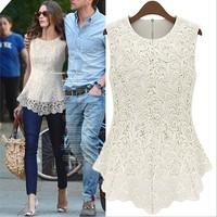 fashion women lace BlouseSleeveless European American Sexy white Lace Shirt women lace top,free shipping,plus size S-3XL,T0112