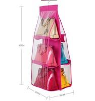 Good quality Fashion 6 Pocket Hanging Bag Purse Storage Organizer Closet Rack Hangers three colors to choose