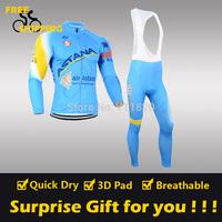 2014 Blue ASTANA winter Fleece Thermal Long Sleeve and Bib Pant Cycling Jersey/Wear/Clothing/Bicycle/Bike/Riding jersey/Gel