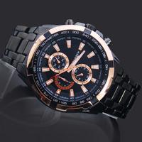 Free & Drop Shipping! 1PC Black Face Golden Pointer Fashion Man Men's Boy's Gift Curren Analog Quartz Wrist Watches, 8023