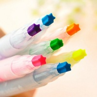 6pcs / lot Creative Stars Pens Pencils Lovely marker Markers & Highlighters