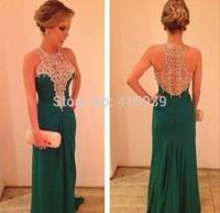 2014 Emerald Green Prom Dress Beautiful Long Beaded Women Gown Free Shipping WH395